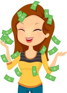 Illustration Featuring a Smiling Happily While Money Pours Down