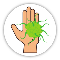 cartoon hand holding a germ